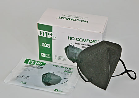 Imported respirators FFP2 packed in 25 pieces in a sterile bag, black, in stock M90140 CE1